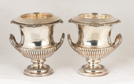 Pair of Sheffield Wine Coolers with Coat of Arms