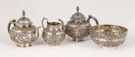 Chinese Export Sterling Silver Repoussé Tea Set