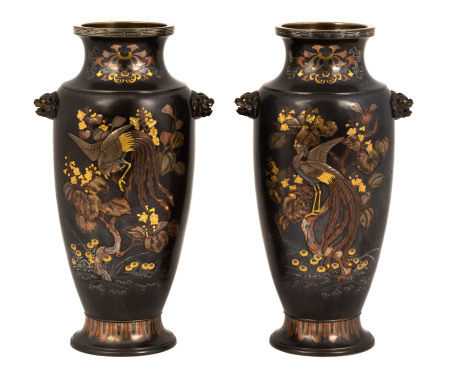 Fine Pair of Large Japanese Bronze Mixed Metal Vases