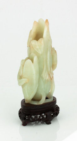 Chinese Jade Magnolia Vase with Wood Stand