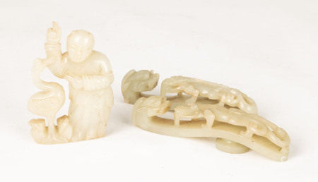 Chinese Jade Figural Group and Dragon Belt Hooks