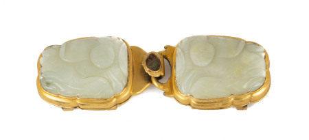 Chinese Carved Jade & Gilt Bronze Belt Hook