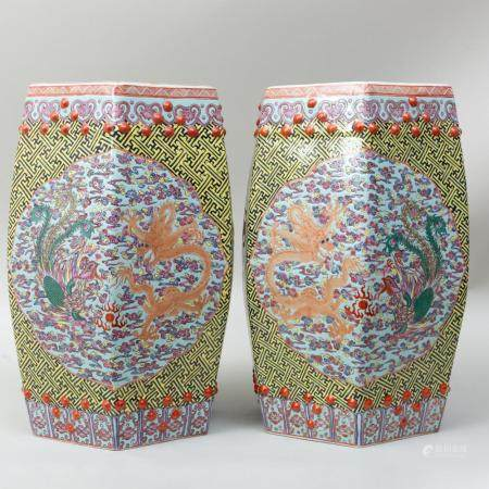 Pair of Chinese Porcelain Turquoise Ground Hexagonal Garden