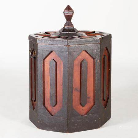 Neo-Gothic Style Painted Kindling Box and Cover