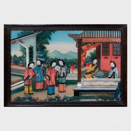 Chinese Export Reverse Painting on Glass