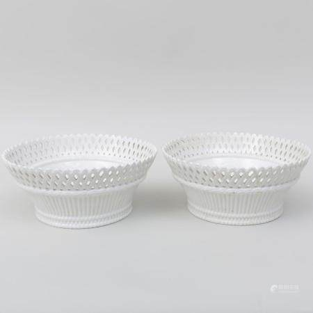 Pair of Italian White Glazed Porcelain Bowls with Reticulate