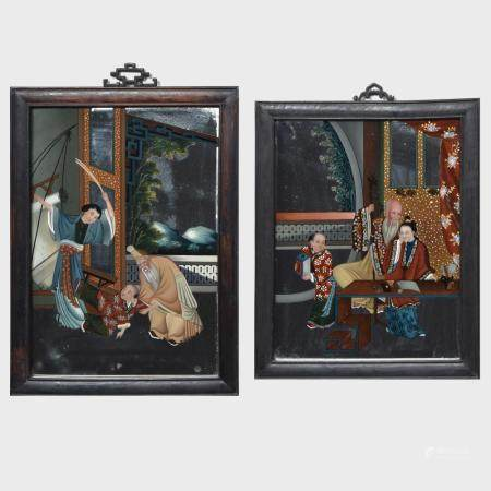 Pair of Chinese Export Reverse Paintings on Glass
