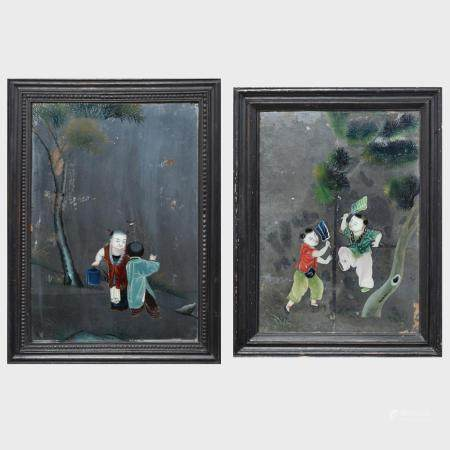 Two Chinese Export Reverse Paintings on Glass