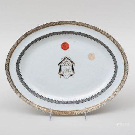 Chinese Export Porcelain Armorial Platter Decorated en Grisa