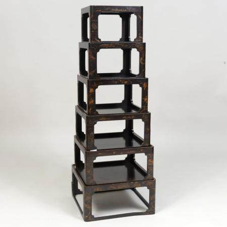 Japanese Black Lacquer and Parcel-Gilt Six Tier Stacking Tab