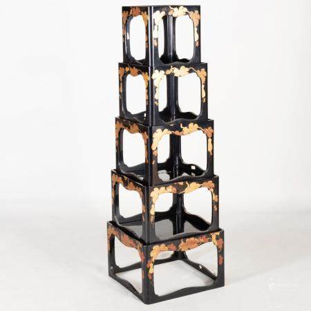Japanese Black Lacquer and Parcel-Gilt Five Tier Stacking Ta