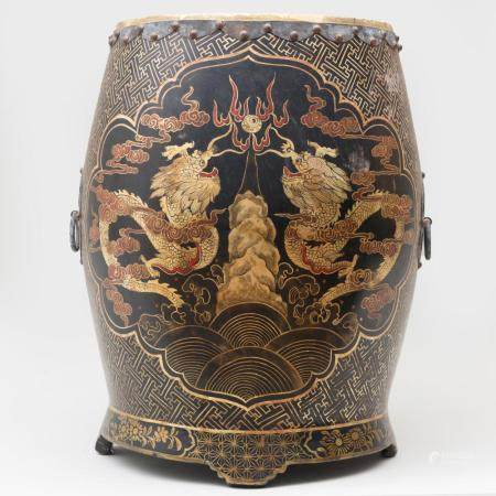 Chinese Metal-Mounted Lacquer Drum Form Box