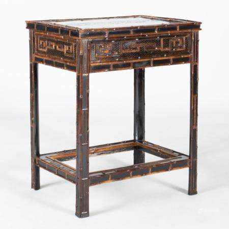 Chinese Export Black Painted Bamboo Side Table