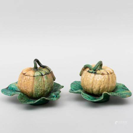 Pair of Gourd Form Boxes and Covers