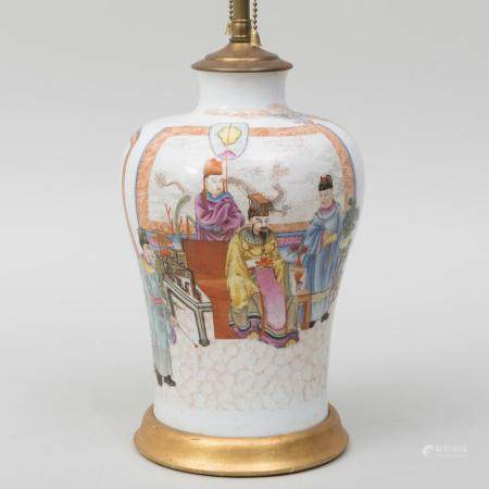 Chinese Famille Rose Porcelain Vase Decorated with Scholars
