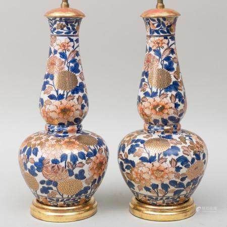 Pair of Imari Style Gilt-Decorated-Porcelain Lamps