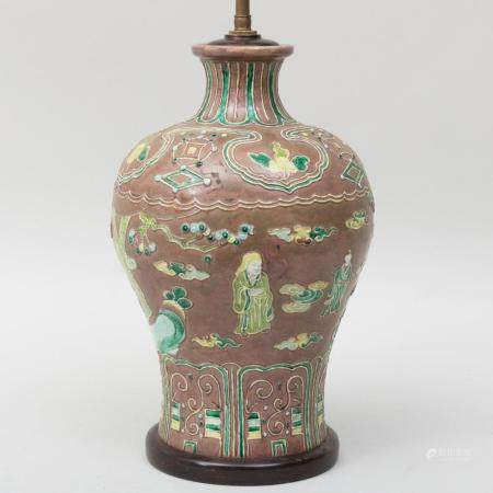 Chinese Porcelain Aubergine Fahua Vase Mounted as a Lamp