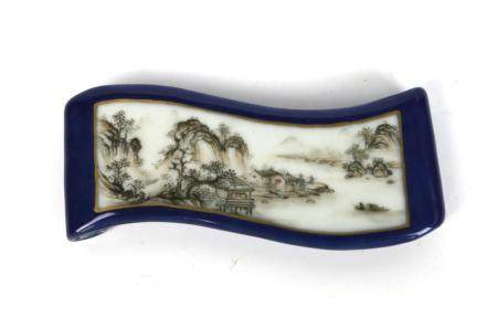 A Chinese Grisaile Ink Bed Painted with Landscape