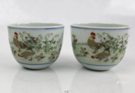 A Pair of Chinese Chicken Cups