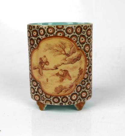 A Chinese Faux Bios Glazed Brush Pot