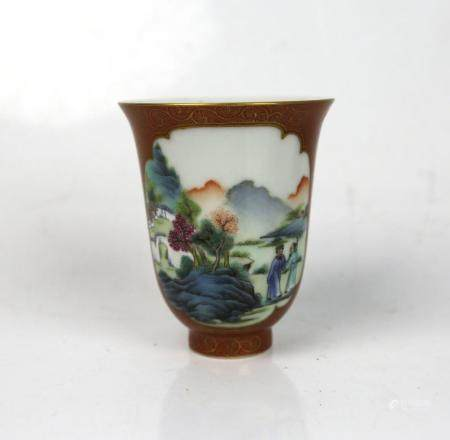 A Chinese Iron Red & Gilt Painted Cup