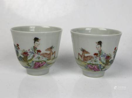 A Pair of Famille Rose Wine Cups