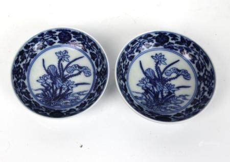 A Pari of Chinese Blue & White Dishes