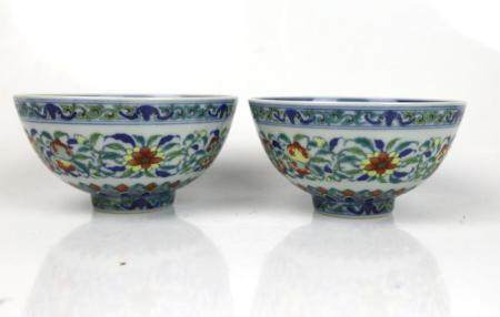 A Pair of Chinese Doucai Flower Bowls