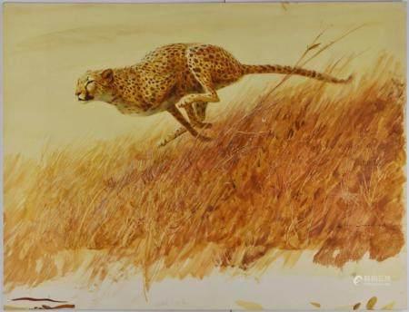 John Schoenherr Cheetah Gouache on Paperboard Illustration
