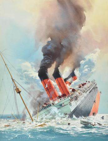 """Carl Evers """"The Truth About the Lusitania"""" Gouache on Paperb"""