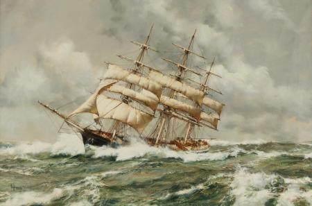 "Montague Dawson ""Stormy Weather Scottish Chief"" Oil on Canva"