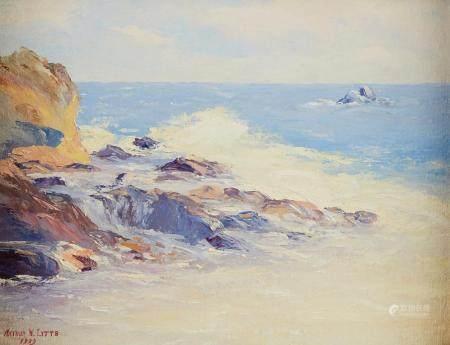 """Arthur Litts """"Laguna Beach, California"""" Oil on Board"""