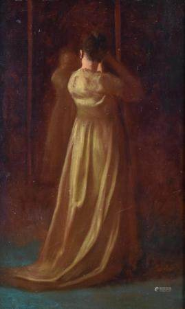 """Eastman Johnson """"The Finishing Touch"""" Oil on Board"""