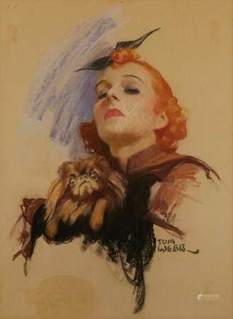 "Tom Webb ""Woman and Pekingese"" Illustration Pastel on Paper"
