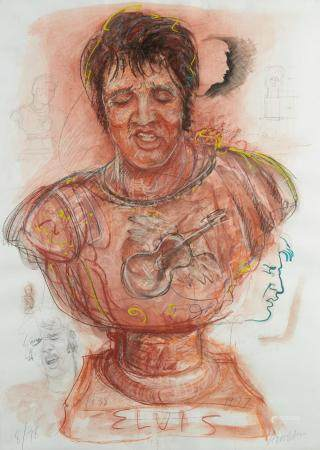 "Robert Arneson ""Elvis"" Pastel Drawing"