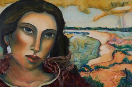 "Miguel Martinez ""Rio del Norte"" Pastel on Panel Painting"