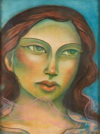 Miguel Martinez Pastel Portrait of a Woman Painting