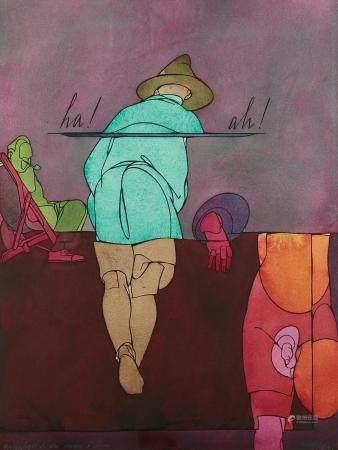 "Valerio Adami ""Nostalgia di un Uomo d'Affari"" Watercolor on"