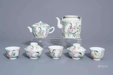 A Chinese seven-piece qianjiang cai tea service with figurative design, 19th/20th C.