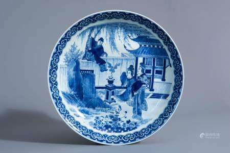 A Chinese blue and white 'Romance of the Western Chamber' charger, Qianlong mark, Republic, 20th C.