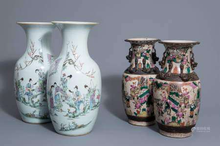Two pairs of Chinese famille rose and Nanking crackle glazed vases, 19th/20th C.