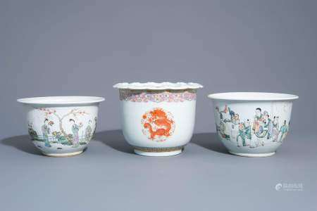 Three Chinese famille rose and qianjiang cai jardinières with different designs, 19th/20th C.