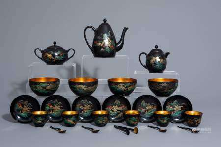 An extensive Chinese Foochow lacquer Shen Shao'an style coffee and tea service, 20th C.