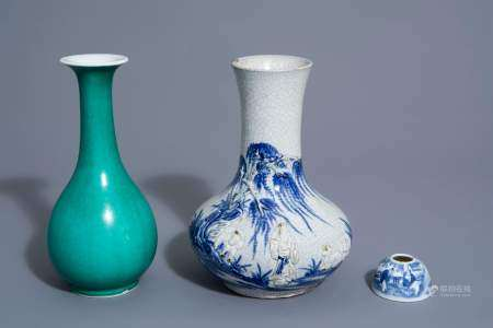 A Chinese blue and white crackle glazed vase, a monochrome green vase and a brushwasher, 19th/20th C.
