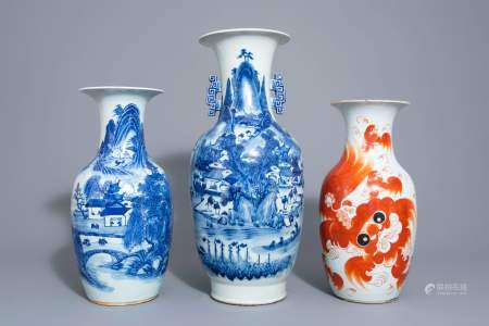 Three Chinese blue and white and iron red vases, 19th/20th C.