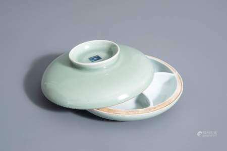A Chinese celadon spice box, Qianlong mark, 19th C.