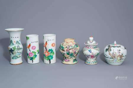 Six Chinese qianjiang cai and famille rose vases, 19th/20th C.