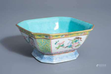 A Chinese famille rose octagonal bowl with floral design, Qianlong mark, 19th C.