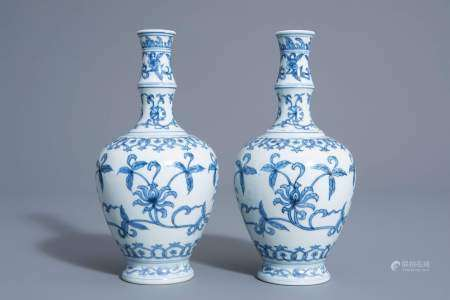 A pair of Chinese blue and white vases with floral design, Chenghua mark, 19th/20th C.