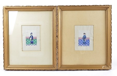 19th Century Chinese watercolours, a collection of eleven framed rice paper watercolours depicting